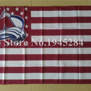 NHL Colorado Avalanche with US Stars Stripes Flag New 3x5ft 150x90cm 100D Polyester Flag Banner,  free shipping