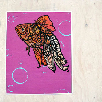 Goldfish Art Print - Zentangle  8 x 10 Wall Art Limited Edition