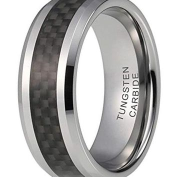 CERTIFIED 8mm Tungsten Carbide Wedding Bands Black Carbon Fiber Inlay Ring