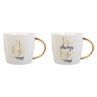 Mr. & Mrs. Right Coffee Mugs with Gold Handles
