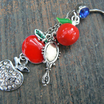 Snow White inspired belly ring 3 d apple rhinestone apple apples mirror in fantasy  cosplay boho gypsy hippie belly dancer and hipster style