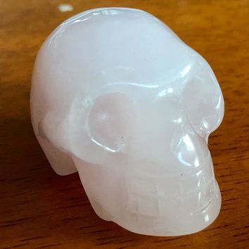 Rose Quartz Carved Skull