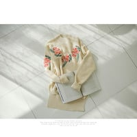 Floral Embroidery Long Knit - KKAMI