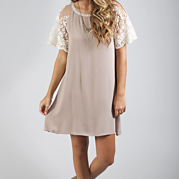 show and tell lace dress - mocha