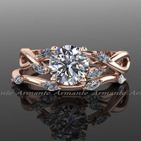 Rose Gold Engagement Ring Set / Natural Diamond Leaves Marquise & Moissanite Bridal Set / 1.00 carat Classic Round 14K Wedding Set / RE00093