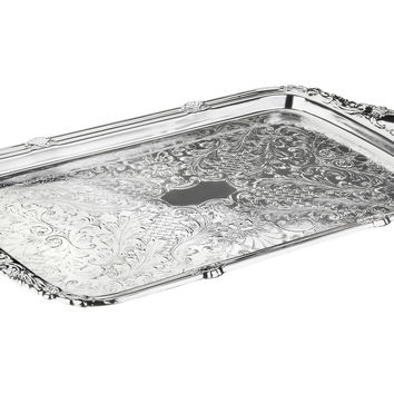 Silver-Plated Tray w/ Integral Handles, Serving Plates & Platters