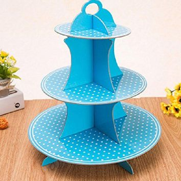 LoveInUSA 3 Tier Paper Cupcake Stand Holder Set Polka Dot Easter Party Birthdays Decoration Blue