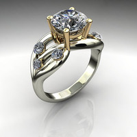 Forever Brilliant Moissanite and Diamond Engagement Ring