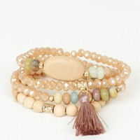Wooden Beads Bracelet Set Tan