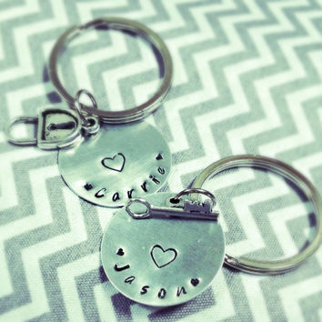 SaLe FREE colored stones add on option! Couple's Key to My Heart Keychain Set Wedding Engagement Anniversary~