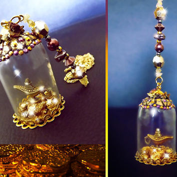 Aladdin necklace, Aladdin's lamp necklace, snowglobe necklace, gold leaf necklace, fantasy jewelry, Valentines day, fairy tale jewelry, OOAK