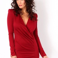 Missguided - Zilla Cross Over Tailored Dress In Wine