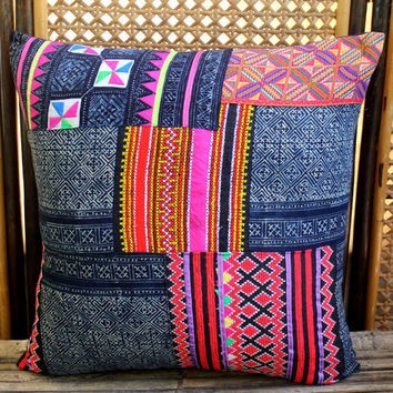 "20"" Vintage Embroidery and Indigo Batik Hmong Pillow Cushion Covers"