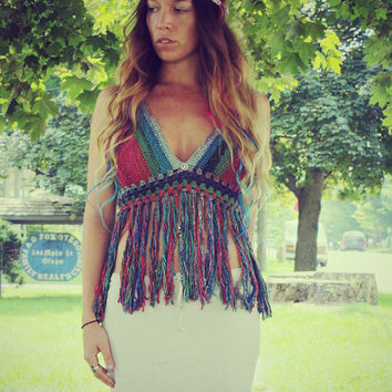 Rainbow Peace Festival Top With Fringe,   Ombre Crochet Crop Top, Fringe Tank, Hippie, Bohemian, Summer, Bikini, Vintage Style Crochet