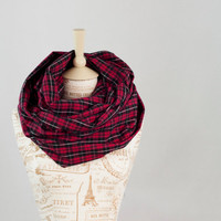 Red Plaid Infinity Scarf, Flannel Circle Scarf, Red Black Plaid, Fashion Cowl, Womens Scarves, Chunky Infinity Scarf