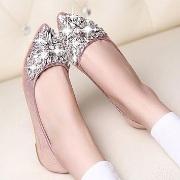 2017 new fashion single shoes bling rhinestone wedding shoes flat gold silver women's flat heel casual shoes