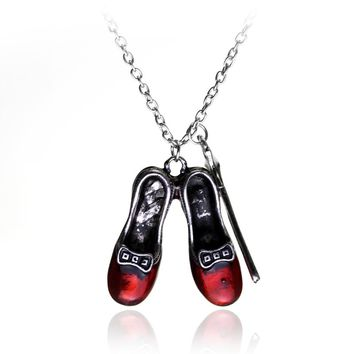 dongsheng Wizard of Oz Alice in wonderland Vintage Red Shoes and Magic Wand Stars Charm necklace pendent Girls and women jewelry