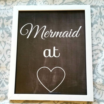 Mermaid at heart <3 quote 8.5 x 11 inch wall art print poster for baby nursery, dorm room, or home decor