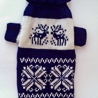 Deep Dark Blue Pattern Sweater For Big Dog.  Big Dog Sweater. Pattern Clothes for Dogs. Dog Clothes. Dress For Dog. Pet Clothing. Size 4XL