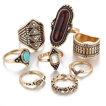 8 Pcs/Set Vintage Women Punk Ring Retro Geometry Finger Rings Boho Style Jewelry Gifts KQS8