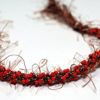 Kumihimo Fuzzy Fibre Bracelet Brown with Red by epicstitching