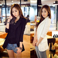 2016 Women Suit Tops Blazer Women Jackets Chiffon Coat Contrast Polo Neck New Korean Style Long Sleeve Casual Blazer White Black