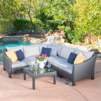 Caspian 6pc Outdoor Wicker V-shaped Sectional Sofa Set w/ Cushions