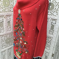 Ugly Christmas Tree Sweater Embroidered Size XL Cowl Neck Full Length Sequins Beads Jewels Holiday Jumper
