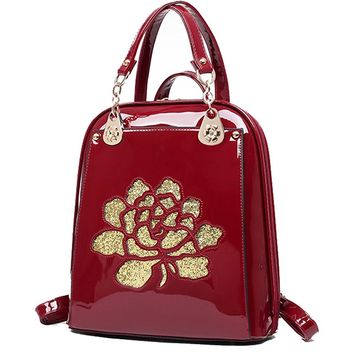 Yan Show Women's Patent Leather Shoulder Bag Flower Pattern Backpack Stereotypes Multifunction Bag
