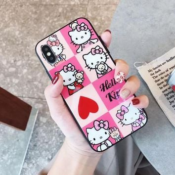For iphone 8 8Plus fresh hello kitty glass Cases for iphone XR XS max 7 7plus X 6S 6splus cute pink KT Back cover
