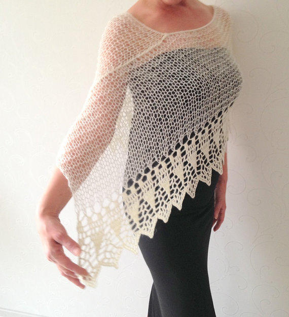 Summer Shrug Knitting Pattern : Wedding shawl, ivory poncho, knit poncho, from Mrlworks on Etsy