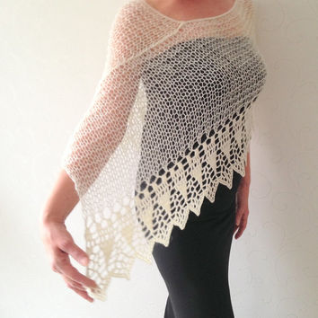 Wedding shawl, ivory poncho, knit poncho, merino poncho, knit and crochet, loose knit shrug capelet cape shawl, ivory top, summer wrap,