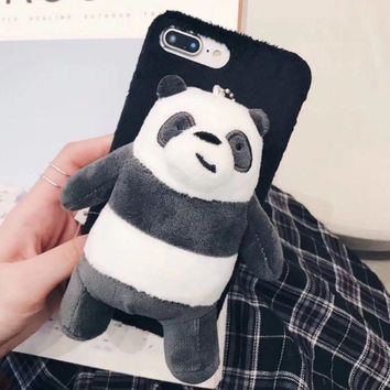 ONETOW Autumn and winter models we bear naked plush doll ipohonee 8 mobile phone shell 6s lanyard iphone7plus protective sleeve female X Plush panda F