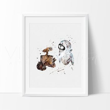 Wall-E & Eva Watercolor Art Print