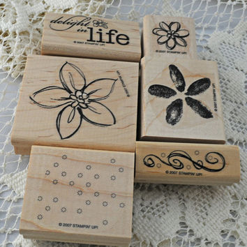 """Stampin' Up Stamp Set, """"Delight in Life"""" Barely Used Reduced Price, LONG Retired, Scrapbooking, Cardmaking"""
