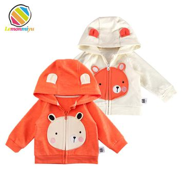 Lemonmiyu Baby Cartoon Cotton Hooded Jackets Toddler Print Fashion Coats Zipper Newborn Animal Outwear Infants Full Sleeve Cloth