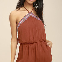 Tidewater Rust Red Embroidered Romper