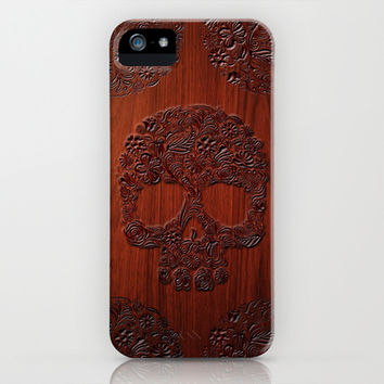 Wood Carved Sugar Skull flower pattern apple iPhone 4 4s, 5 5s 5c, iPod 4,5 & samsung galaxy s4 case cover