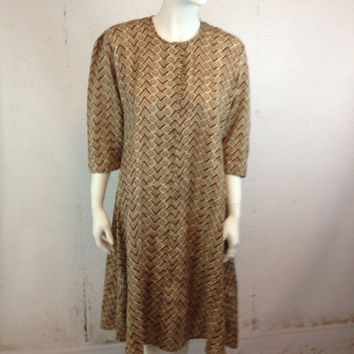 70s Ethnic Tunic Dress Earthy Brown Print Festival Boho Flowing Moroccan Egyptian Retro Tribal Style Ladies Size Large Boho Gypsy Vintage
