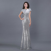 Sparkly Sequin Mermaid Long Evening Dress 2015 2016 New Arrival Formal Dresses Vestido De Festa Scoop Custom Made Prom Gowns