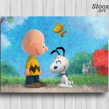 Snoopy and Charlie Brown poster childrens room decor cartoon watercolor art