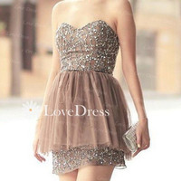 Strapless Sequin Mini Homecoming Dress,Short Prom Dress,Sequin Lace Homecoming,Cocktail Dress