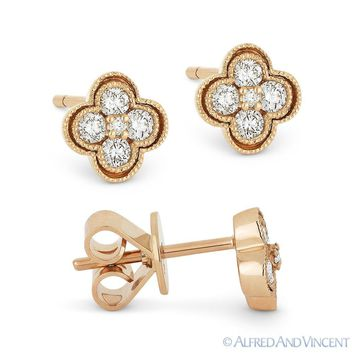 0.28 ct Round Brilliant Cut Diamond Pave Flower Stud Earrings in 14k Rose Gold
