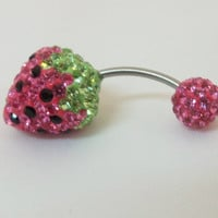 Belly button ring with brilliant pink and peridot green crystals, cute strawberry