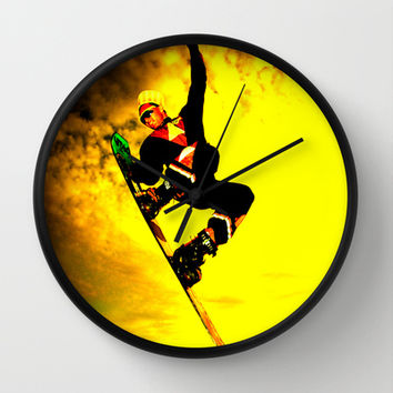 Snowboarding Wall Clock by Bruce Stanfield
