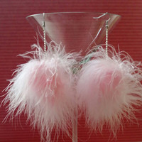 Pom Earrings - Light Pink Fluffy Feather Pom Earrings - Pom Pom Earrings - Fuzzy Earrings