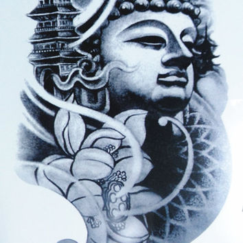 temporary tattoo big   Buddha   real Buddhist  Buddhism   statue of the Buddha