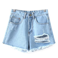 Frayed Ripped Denim Shorts