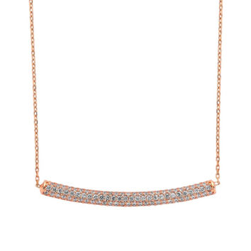Amorium Rose Gold and White Tube Necklace