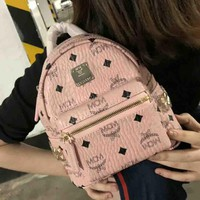 MCM Fashion New fashion print women backpack bag Pink